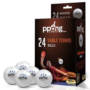 Table Tennis Balls PPong Indoor Outdoor Plastic Ping Pong Balls White x 24 UK