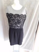 Ann Taylor LOFT Black Gray Wool Lace Cap Sleeve Sweater Dress - Size Large