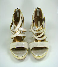 CYNTHIA VINCENT Ivory Gold Leather Espadrille Wedge Sandal Size 8.5
