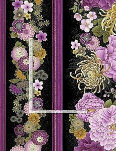 FLEUR Purple Flowers Stripe CM8809 Timeless Treasures Cotton Fabric NICE!