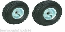"Two (2) 10"" 10 in. Haul-Master Pneumatic Tires on Zinc Wheels - 4.10/3.50-4 New"