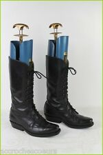 VINTAGE Bottes à lacets GOWEST Tout Cuir Noir T 36,5 / UK 4 TBE