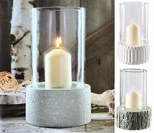 Windlicht Keramik mit Glasvase Kerzenhalter Blumen Vase Glas Deko weiß grau Groß