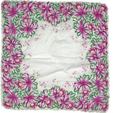 "17"" Big Large Vintage Scalloped Handkerchief Purple Iris Floral Flower Print"