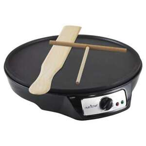 NutriChef Electric Crepe Maker Hot Plate Cooktop Black Aluminum Griddle 1-Burner