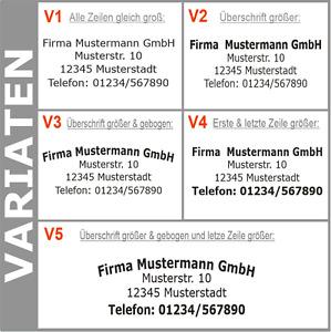 4. Zeilen Aufkleber Beschriftung 50-140cm Werbung Sticker Werbebeschriftung KfZ