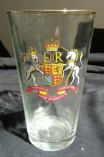 Vintage Coronation Pint Glass 1953 Coronation Of Queen Elizabeth II gold rim