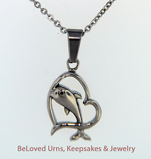 Dolphin Jumping Through Heart Cremation Jewelry Memorial Keepsake Pendant Chain