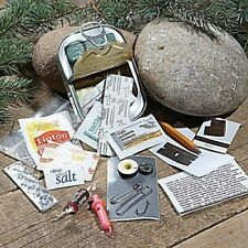 SURVIVAL KIT IN SARDINE CAN CAMPING HIKING BOY CUB GIRL SCOUT 25 ITEMS CAR BOAT