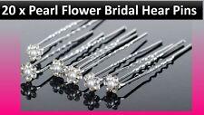 20 x Pearl Flower Rhinestone Crystal Diamante Wedding Bridal Prom Hair Pins