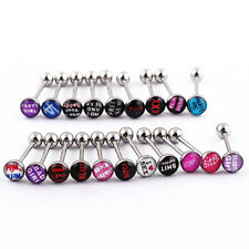 10Pcs Punk Nightclub Words Ear Tongue Bars Rings Studs Piercing Jewelry Deluxe