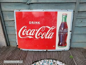 """1930s Drink Coca Cola Enamel Sign made in England Advertising Porcelain 28""""x20"""""""