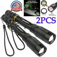 2PCS Tactical 350000LM Zoom Police LED T6 High Power Flashlight 186*50 Torch USA