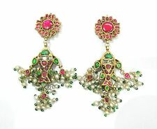 Vintage antique Solid 22K Gold jewelry Diamond polki Emerald Ruby earring pair
