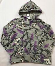 NWT Gap Kids 6-7 Years Gray Butterfly Floral Hoodie Zip Sweatshirt Top Jacket