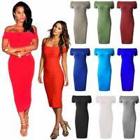 Plus Size Womens Ladies Fishnet Off The Shoulder Bardot High Low Hem Midi Dress