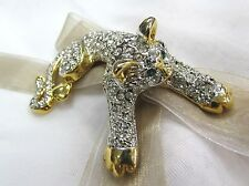 18K Gold Plate Cat Swarovski Element Austrian Crystal Rhinestone Brooch Pin