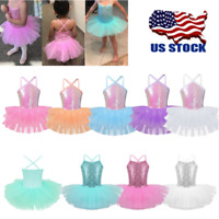 US Girls Shiny Ballet Dance Leotard Lyrical Tutu Dress Gymnastics Skirts Costume