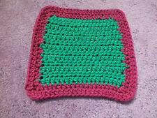 Collectible Handmade Crocheted Pot Holder Trivet Orange Green Burgandy Cute