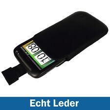 Schwarz Leder Tasche Holster für HTC Desire S Android Hülle Case Etui Beutel