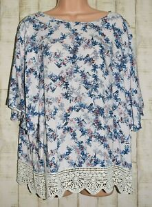 """LIGHT SIZE 16 PINK """"BIRD FLORAL"""" TUNIC TOP BATWING SLEEVE LACE HEM by GEORGE"""