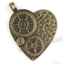 5pcs 142365 Antique Bronze Alloy Gear Shape Heart Charms  Pendant Finding 45mm