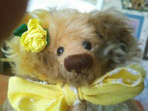 "1990s Multicolored mohair Annette Funicello Bear Co. Teddy Bear ""Aura"" 9in EUC"