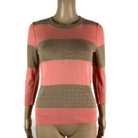 Anthropologie Moth Size Small Rabbit Hair Striped Crew Neck Sweater Pink Brown