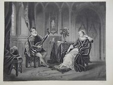 Orginal c1850 Antiquarian Engraving - Mary Queen of Scots & Secretary Chatelar