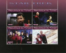 Chad Star Trek Stamps 2020 CTO Generations Picard Kirk Worf Data Movies 4v M/S