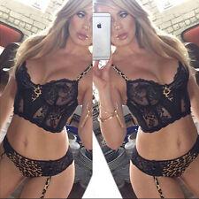 Leopard Black Lace Sexy Lingerie Babydoll Underwear Dress Top Thong UK 6-8