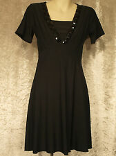 Little Black Dress with Large Beads on Bodice Formal Teenage Leavers Party Frock