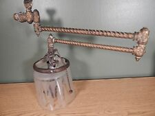 ANTIQUE BRASS GAS LIGHT EXTENDABLE ARM WITH BURNER AND ORIGINAL SHADE