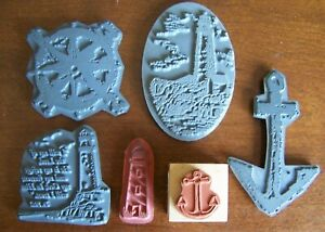 """6 Miscellaneous """"Light House, Anchor, and Nautical"""" Stamps"""