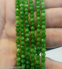 4mm Faceted Natural AAA+ Green Peridot Gemstone Round Loose Beads 15""