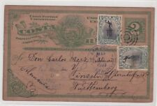 Costa Rica Uprated Demonetized Postal Card To Germany 1903 RARE JBP