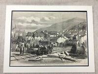 1855 The Crimea Guerra Ferrovia Lavoro Originale Antico Militare Storia Stampa