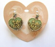Brighton Divine Love Earrings- heart- angels- silver color-green - french wire