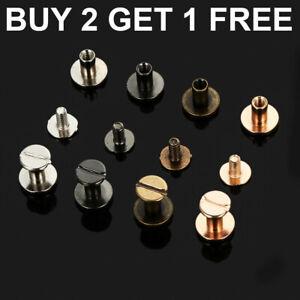10x Flat Belt Screw Leather Craft Chicago Nail Brass Solid Rivet Stud Head UK