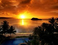 TROPICAL SUNSET  MOUSE PAD  IMAGE FABRIC TOP RUBBER BACKED