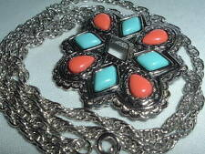 VINTAGE AVON SILVERTONE FAUX TURQUOISE RED TEARDROP NECKLACE PENDANT OR BROOCH