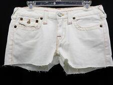 TRUE RELIGION 48 White Cut-Off Denim Jean Shorts Fabric Brand Patch Size 30