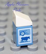 New Lego City Minifig Blue Milk Carton w/Cow - Friends Minifigure Kitchen Food