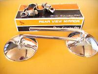 "NOS Mirrors Panhead Shovelhead Sportster Harley Triumph 1"" BARS 4"" round  6""stem"
