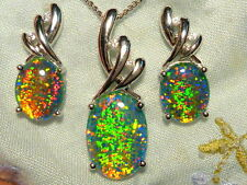 Synthetic Opal Triplet Pend. & Earring Matching Set. SS(925) Rhodium Plate 70313