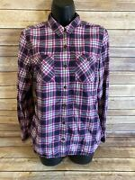 Eddie Bauer Flannel Shirt Size Medium Long Sleeve Button Down Plaid Purple Top