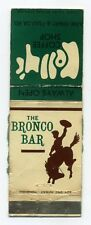 Vintage Matchbox Label, The Bronco Bar / Kelly's Coffee Shop, Rare Collectible