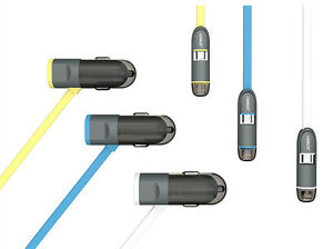 LED light 5v/2.4A Car Charger for Apple and Android phone with extra USB Slot