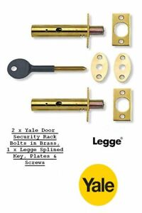 2 x YALE DOOR SECURITY BOLTS, RACK BOLTS BRASS FINISH WITH 1 x LEGGE SPLINED KEY