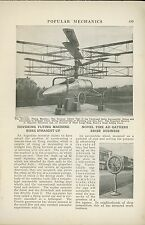 1921 Magazine Article Argentina Helicopter Biplane Blades Autogyro Early Flying
